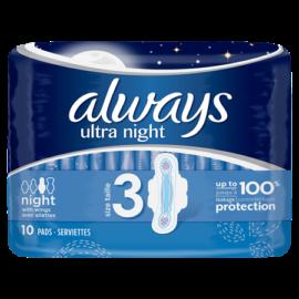 Always Ultra Night Sanitary Pads 10pck